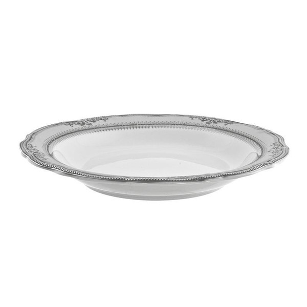 10 Strawberry Street Vanessa 8-Ounces Platinum Rim Soup-Pack of 3 - VAN-3P