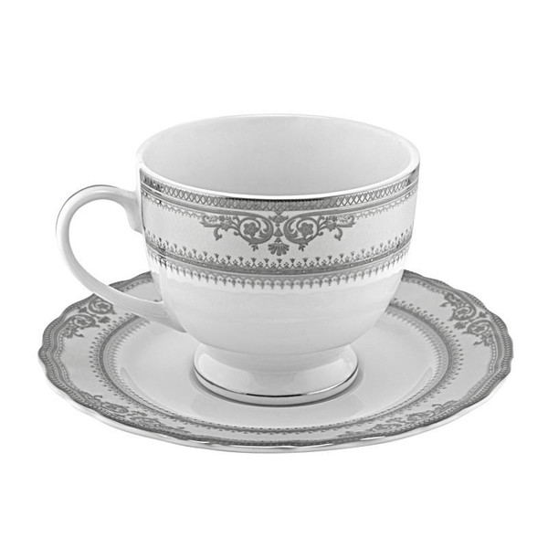 10 Strawberry Street Vanessa 8-Ounces Platinum Ballet Cup/Saucer-Pack of 3 - VAN-9P