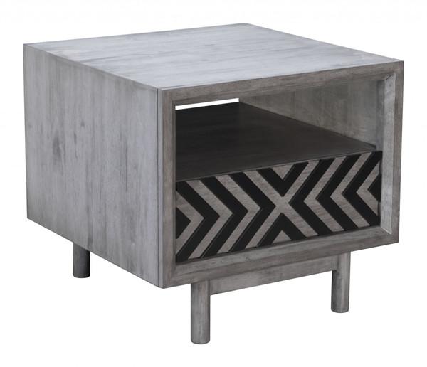 "Homeroots 24"" X 24"" X 22"" Gray, Rubber Wood Veneer, Mdf, End Table 364768"
