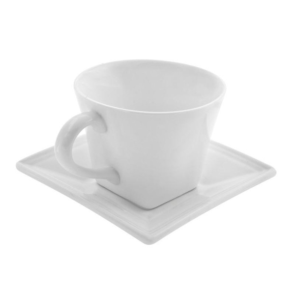 10 Strawberry Street Whittier Square 8-Ounces Flared Cup/Saucer- Pack Of 12 WTR-FLRSQCUP