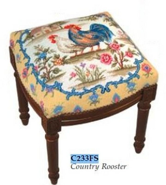 123-Creations Needlepoint Wool Country Rooster Stool C233FS