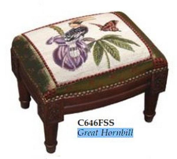 123-Creations Needlepoint Wool Great Hornbill Footstool C646FSS