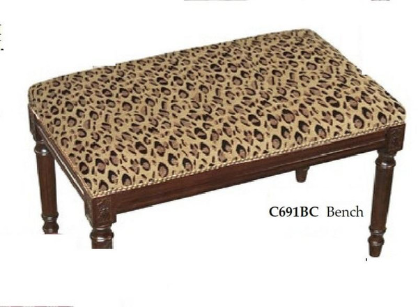 123-Creations Leopard-Print Fabric Covered Upholstered Bench C691BC