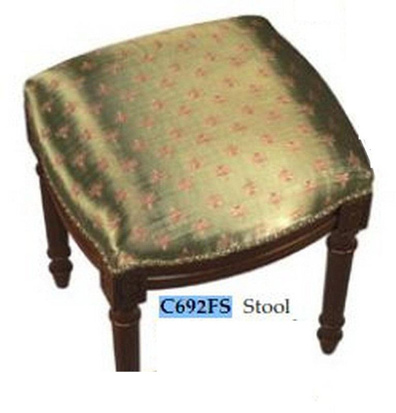 123-Creations Fabric Upolstered Dragonfly-Green Print Stool C692FS
