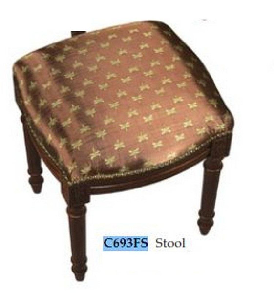 123-Creations Fabric Upolstered Dragonfly-Brown Print Stool C693FS