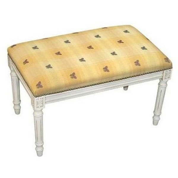 123-Creation Butterfly-Yellow Fabric Covered Upholstered Bench C695WBC