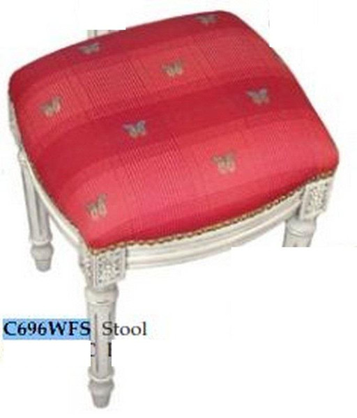 123-Creations Fabric Upolstered Butterfly-Red Print Stool C696WFS