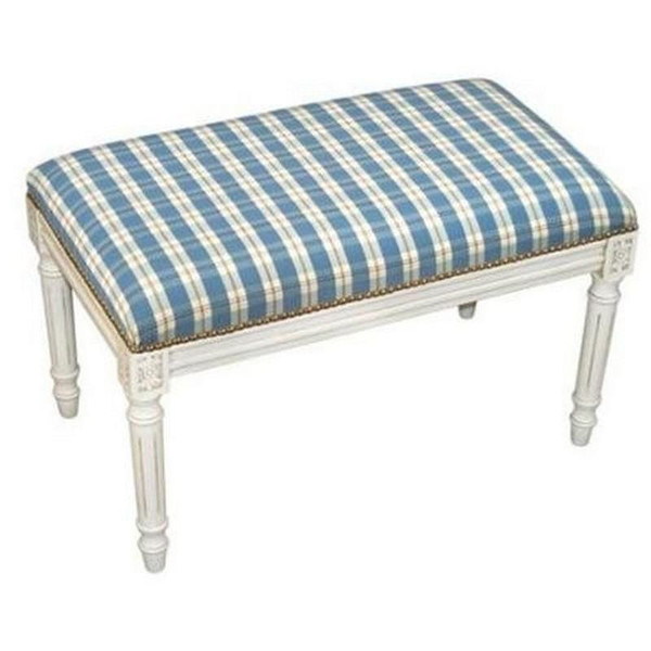 123-Creations Plaid-Blue Fabric Covered Upholstered Bench C697WBC