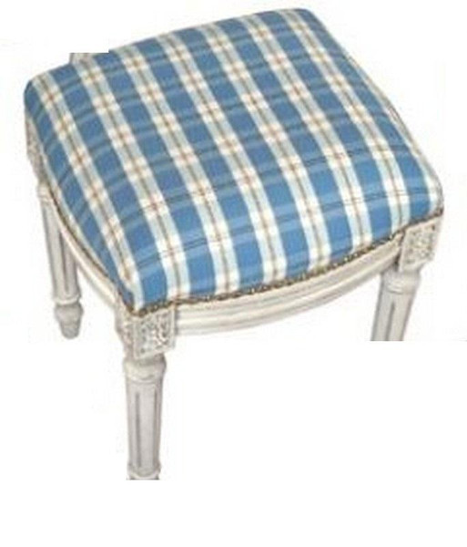 123-Creations Fabric Upolstered Plaid-Blue Stool C697WFS