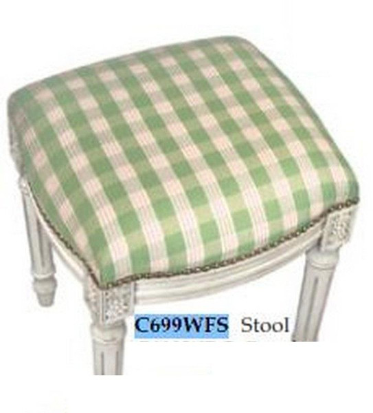 123-Creations Fabric Upolstered Plaid-Green Stool C699WFS