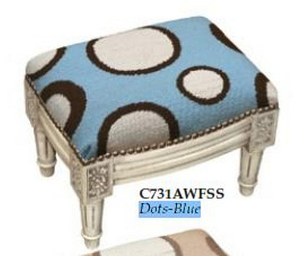 123-Creations Needlepoint Wool Dots-Blue Footstool C731AWFSS