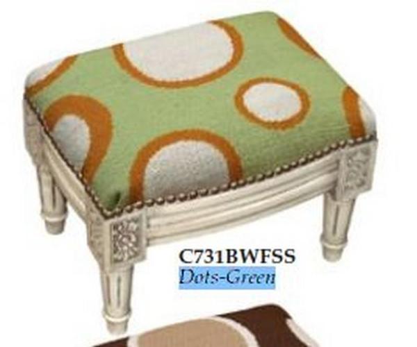 123-Creations Needlepoint Wool Dots-Green Footstool C731BWFSS