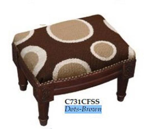 123-Creations Needlepoint Wool Dots-Brown Footstool C731CFSS