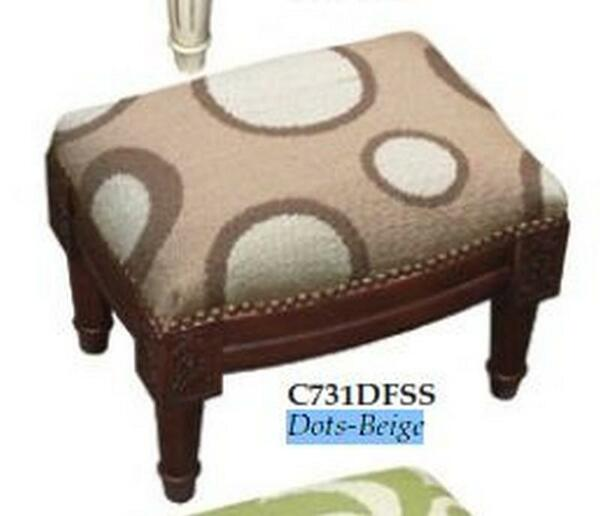 123-Creations Needlepoint Wool Dots-Beige Footstool C731DFSS