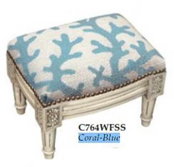 123-Creations Needlepoint Wool Coral-Blue Footstool C764WFSS