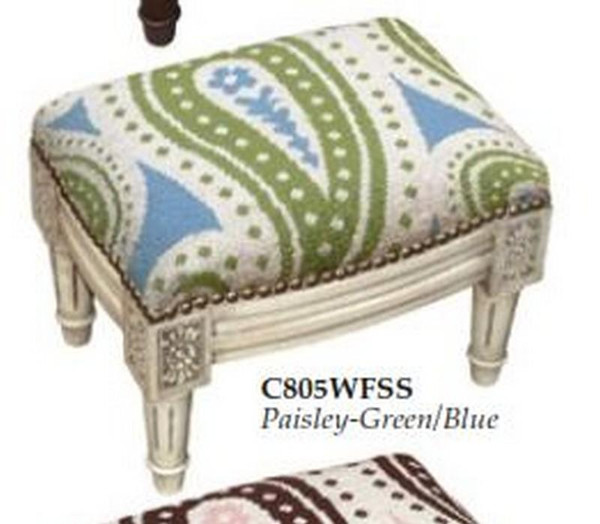 123-Creations Needlepoint Wool Paisley-Green-Blue Footstool C805WFSS