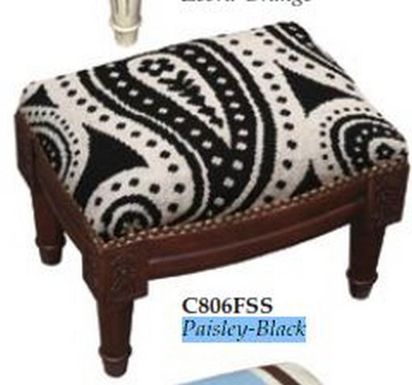 123-Creations Needlepoint Wool Paisley-Black Footstool C806FSS