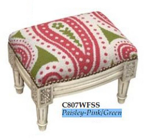 123-Creations Needlepoint Wool Paisley-Pink-Green Footstool C807WFSS