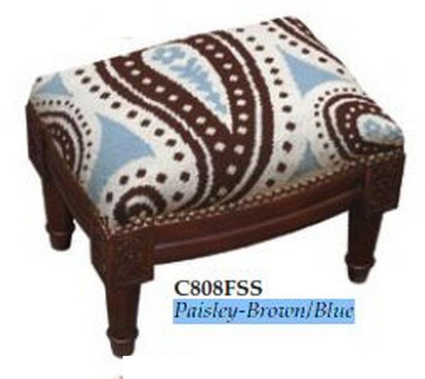123-Creations Needlepoint Wool Paisley-Brown-Blue Footstool C808FSS