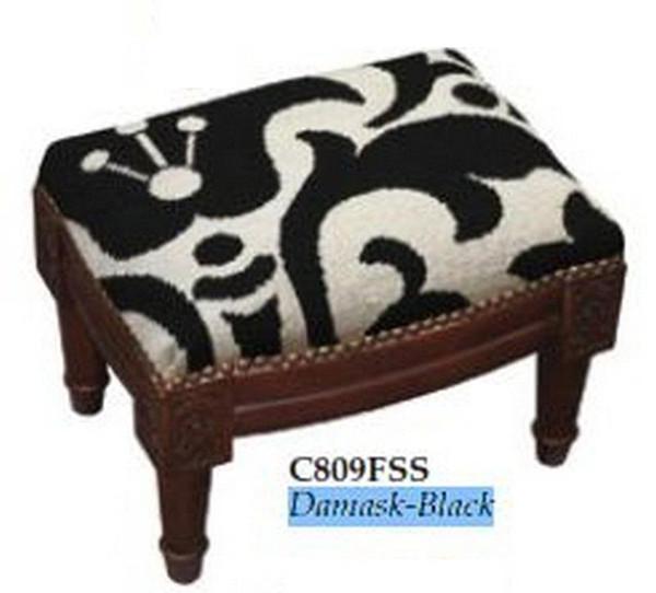 123-Creations Needlepoint Wool Damask-Black Footstool C809FSS
