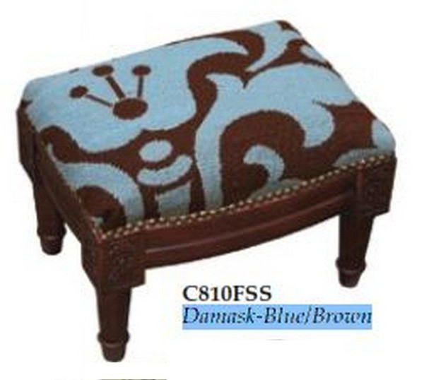 123-Creations Needlepoint Wool Damask-Blue-Brown Footstool C810FSS