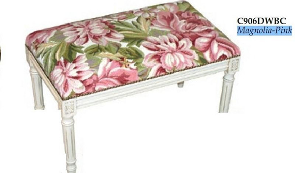 123-Creations Needlepoint Wool Magnolia-Pink Covered Bench C906DWBC