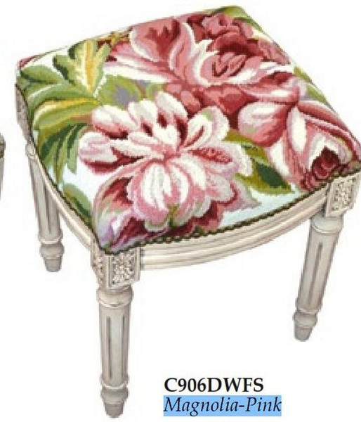 123-Creations Needlepoint Wool Magnolia-Pink Stool C906DWFS