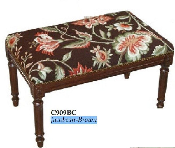 123-Creations Jacobean-Brown Needlepoint Wool Bench C909BC