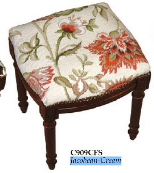 123-Creations Needlepoint Wool Jacobean-Cream Stool C909CFS