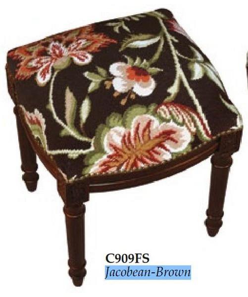 123-Creations Needlepoint Wool Jacobean-Brown Stool C909FS