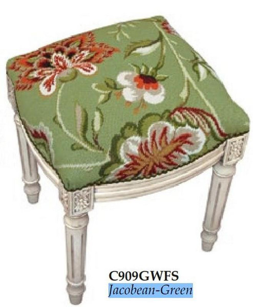 123-Creations Needlepoint Wool Jacobean-Green Stool C909GWFS