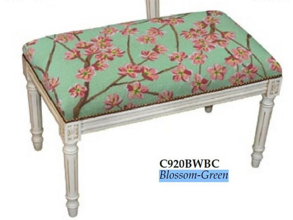 123-Creations Plam Blossom-Green Needlepoint Wool Bench C920BWBC
