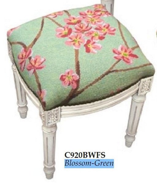 123-Creations Needlepoint Wool Blossom-Green Stool C920BWFS