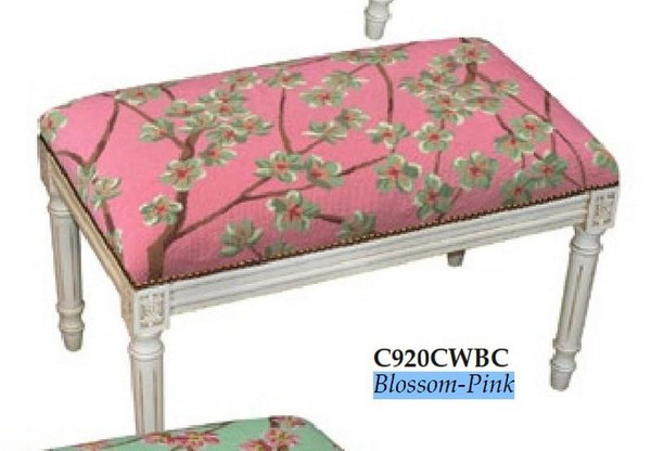 123-Creations Plam Blossom-Pink Needlepoint Wool Bench C920CWBC