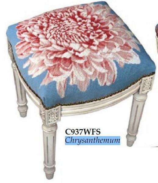 123-Creations Needlepoint Wool Chrysanthemum Stool C937WFS