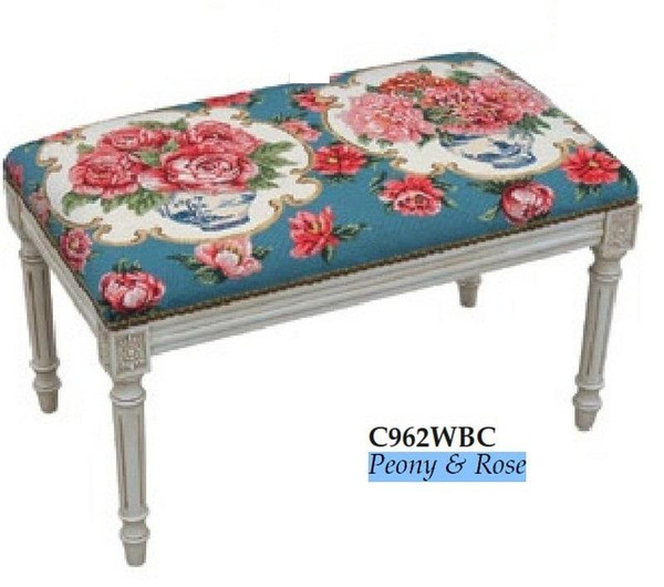 123-Creations Peony & Rose Needlepoint Wool Bench C962WBC