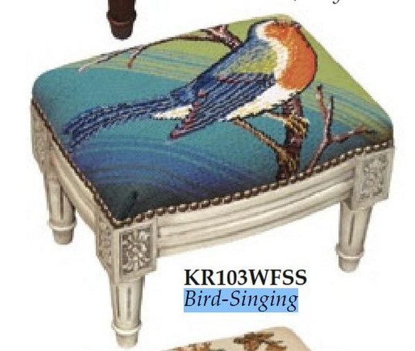 123-Creations Needlepoint Wool Bird-Singing Footstool KR103WFSS