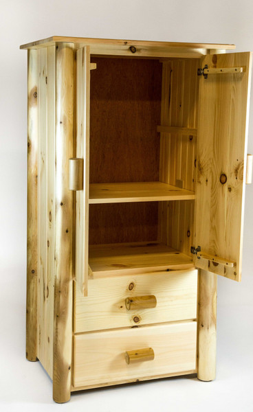 Homeroots Natural Unfinished All Wood Armoire 370328