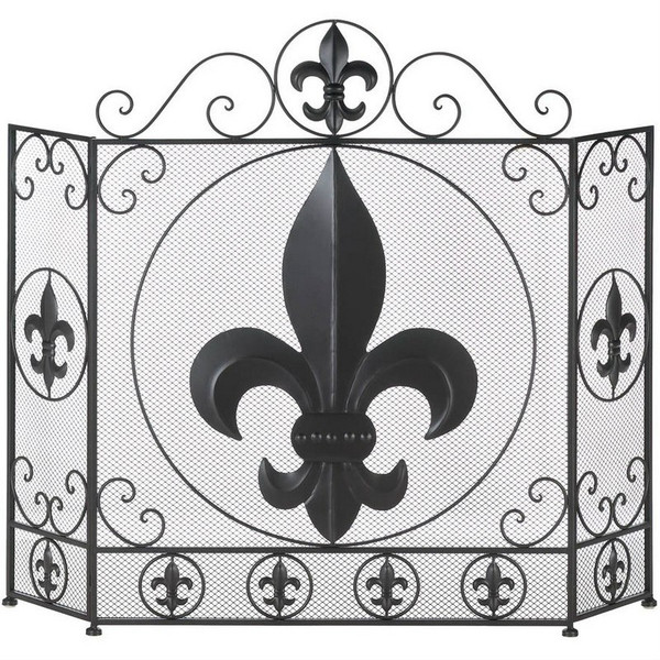 Fleur De Lis Iron Tri-Fold Fireplace Screen 10016005