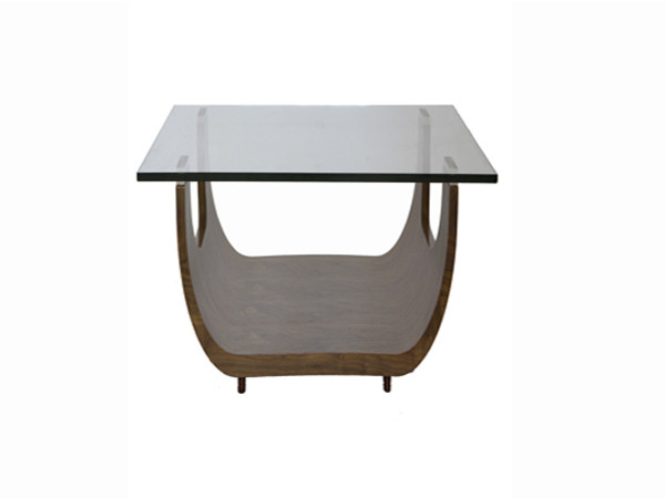 Homeroots Walnut Finish And Glass Top Side End Table 372266