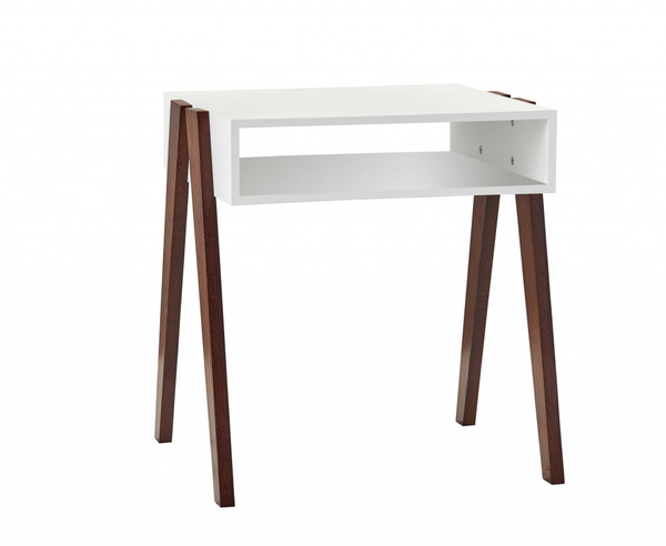 Homeroots Modern Retro Black And Walnut Finish End Side Table 372973