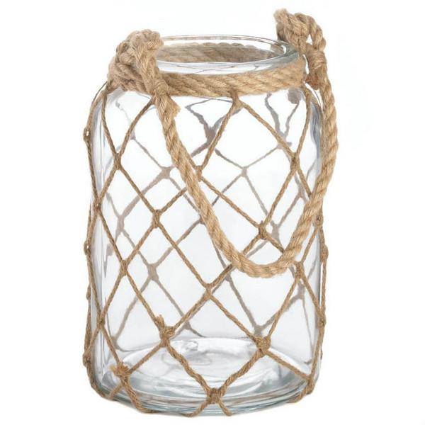 Fish Net Jar Candle Lantern - 9.5 Inches 10017038