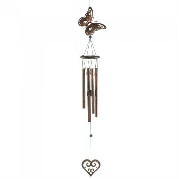 Butterfly And Heart Wind Chimes - 31.5 Inches 10017701