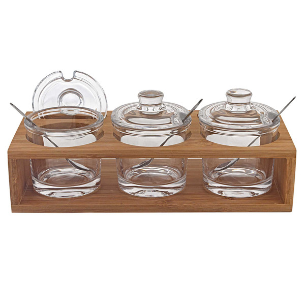 """Homeroots 6"""" Mouth Blown Crystal Jam Set With 3 Glass Jars And Spoons On A Wood Stand 375725"""