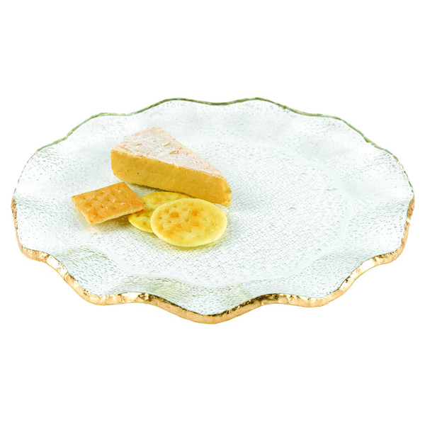 """Homeroots 13"""" Mouth Blown Wavy Edge Gold Leaf Platter Or Charger 375742"""