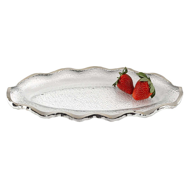 """Homeroots 14"""" Mouth Blown Wavy Edge Silver Platter 375745"""