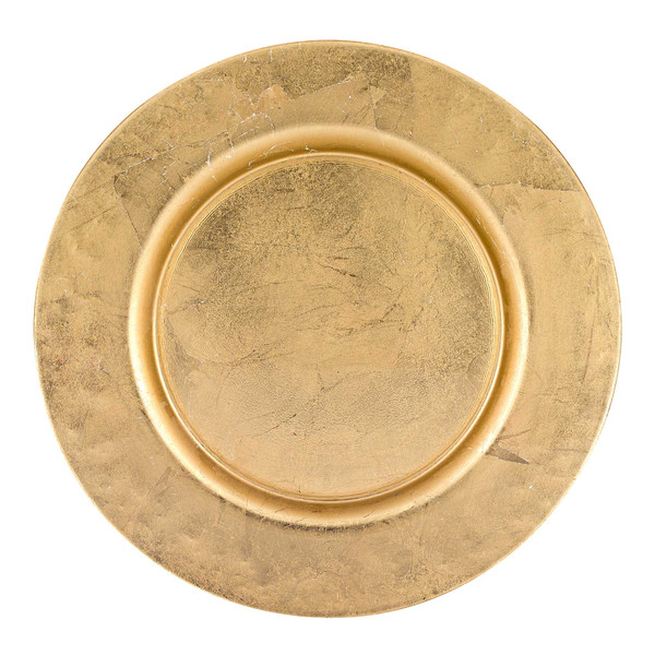 """Homeroots 13"""" Hand Crafted Glass Charger With Gold Rim Finish 376154"""