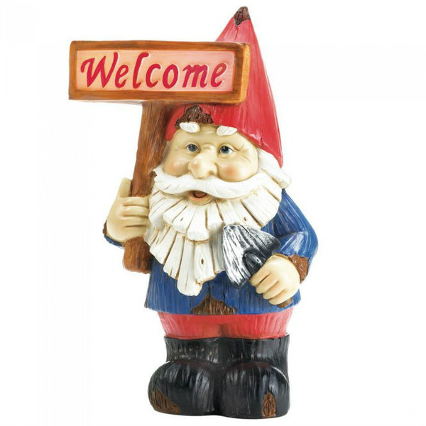 Light-Up Garden Gnome With Welcome Sign 10018056
