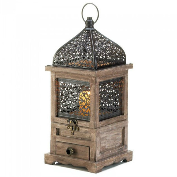 Flip-Top Wood Lantern With Drawer - 14 Inches 10018058