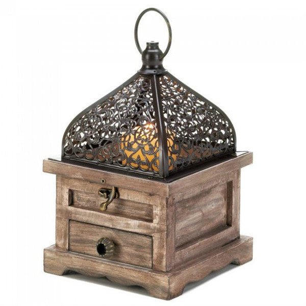 Flip-Top Wood Lantern With Drawer - 8 Inches 10018059